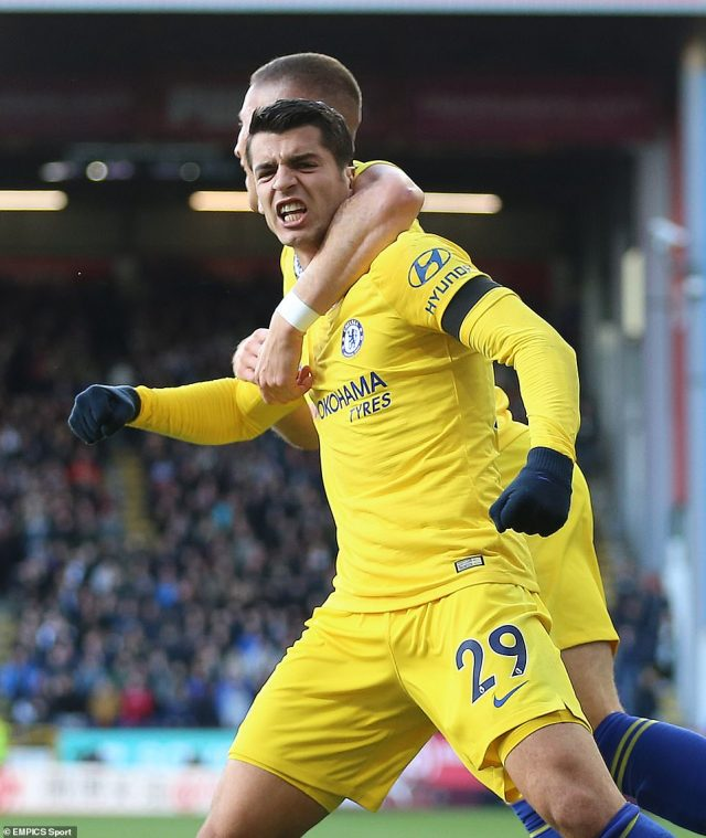 It was Morata's fourth goal in 13 appearances this season as he continues to battle Olivier Giroud for a starting berth