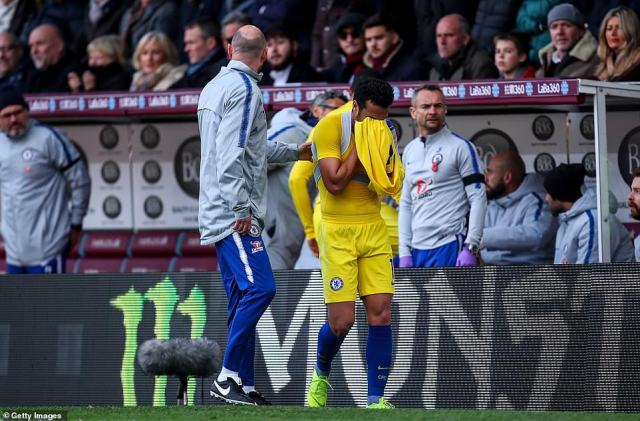 Pedro looked visibly upset as the former Barcelona winger was forced off the pitch after just 30 minutes due to an injury