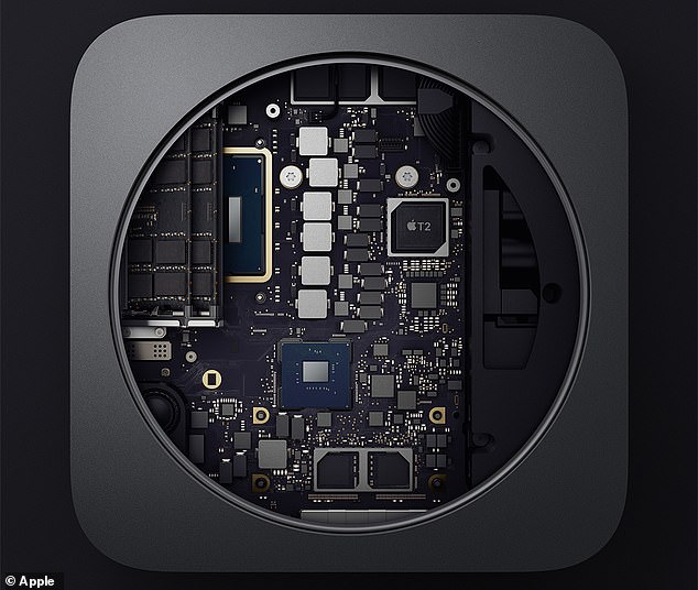 """Apple has also added its new T2 security chip to the Mac Mini to enable """"on-the-fly"""" data encryption so that everything stored on the SSD is encrypted"""