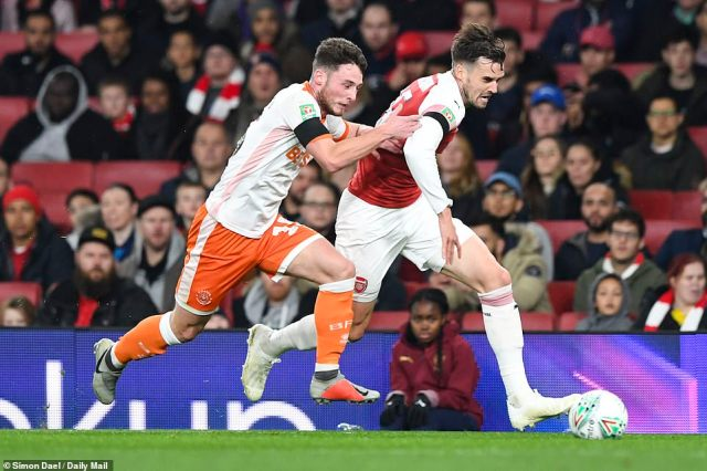 Arsenal defender Carl Jenkinson, pictured competing with Jordan Thompson, was starting his first Arsenal game since 2016