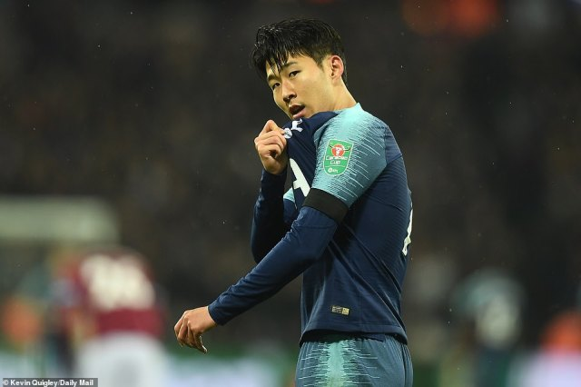 Son shows off his Tottenham badge towards the away fans after scoring his second goal against West Ham in the Carabao Cup