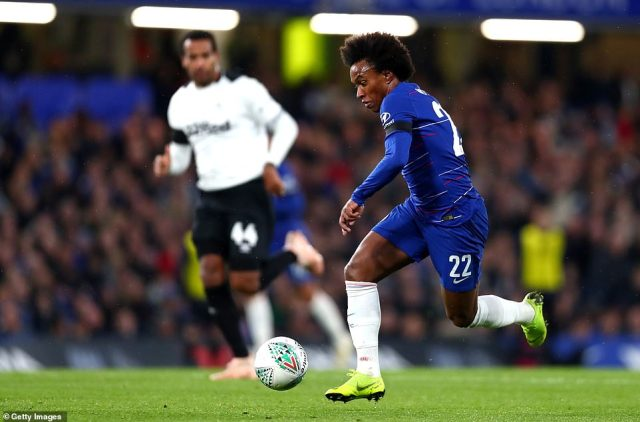 Chelsea's Willian runs with the ball asMaurizio Sarri's side played Derby in fourth round of the Carabao Cup on Wednesday