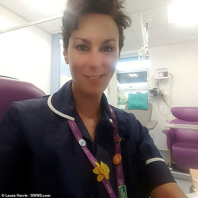 Mrs Harris dedicated her life to caring for cancer patients. She is pictured at work at theSeamoor Unit, Devon, where she also received her treatment