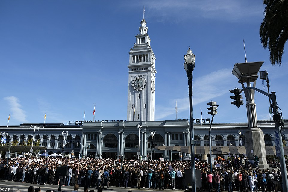 Google employees fill Harry Bridges Plaza in front of the Ferry Building during a strip on Thursday in San Francisco