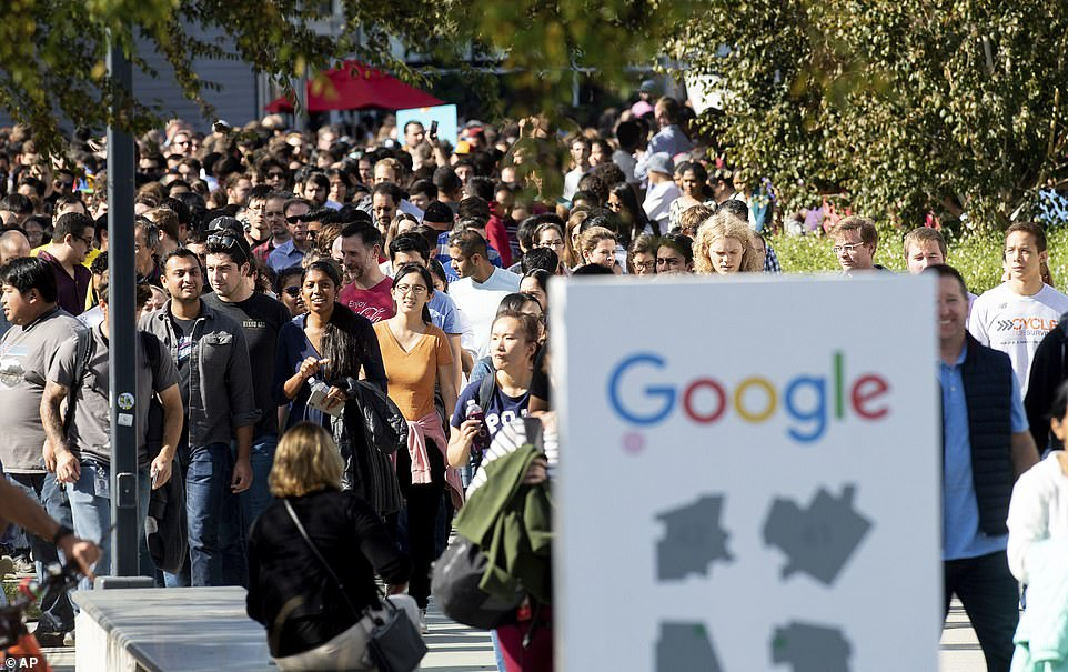 On a tour that took place at 11.10 am local time at the company's global offices on Thursday, a sea of people are filling the headquarters on Google's Mountain View campus in San Francisco Bay
