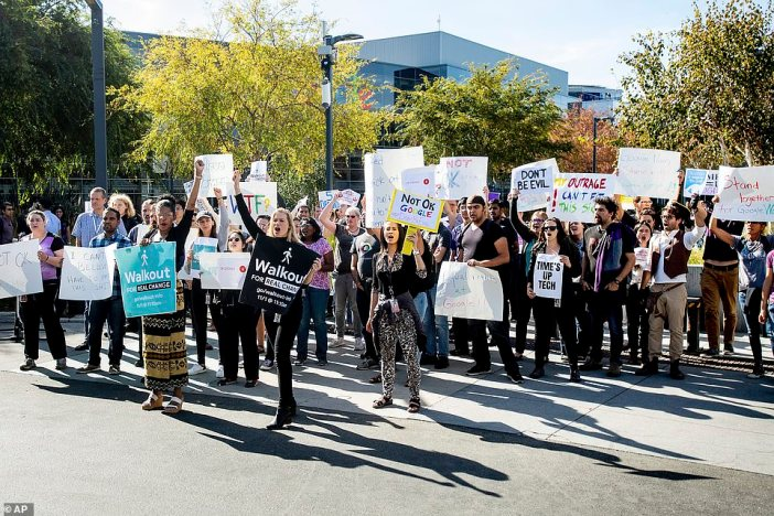 Workers protest against Google's handling of sexual misconduct allegations outside of the company's Mountain View, California, headquarters on Thursday