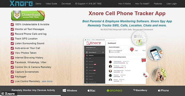 Shown is the website of Xnore. Through a gap in the app, cybercriminals have access to people's Facebook messages, text, and call data