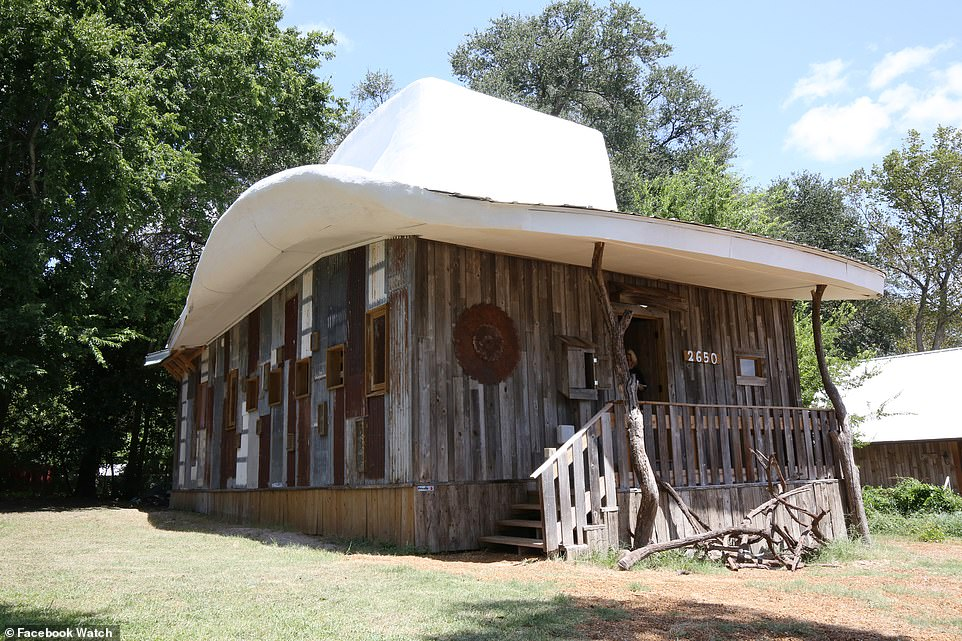 Dan's cowboy-shaped has property was crafted with free, unwanted materials. It's owner, Dan, said he made use of covers from vinyl records, pieces of broken mirrors and even toothpaste tubes to bring his home to life