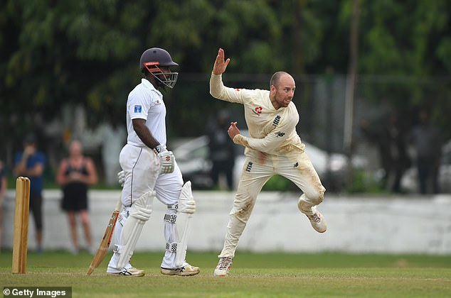 Leach Bowls during his 13 attempts against the XI by Sri Lanka's Board President in Colombo