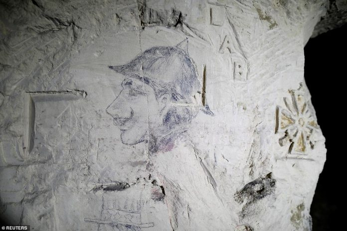 A caricature of Kaiser Wilhelm, the Emperor of Germany, can be seen in the quarry of Froidmont, where US soldiers hid during the First World War