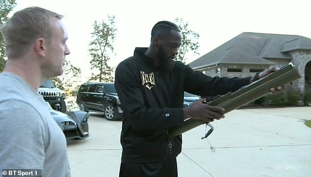 Deontay Wilder amazingly showed a huge bazooka in an interview with BT Sport
