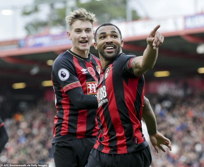 David Brooks of Bournemouth celebrates with Wilson after the 1-0 against Manchester United a 1-0