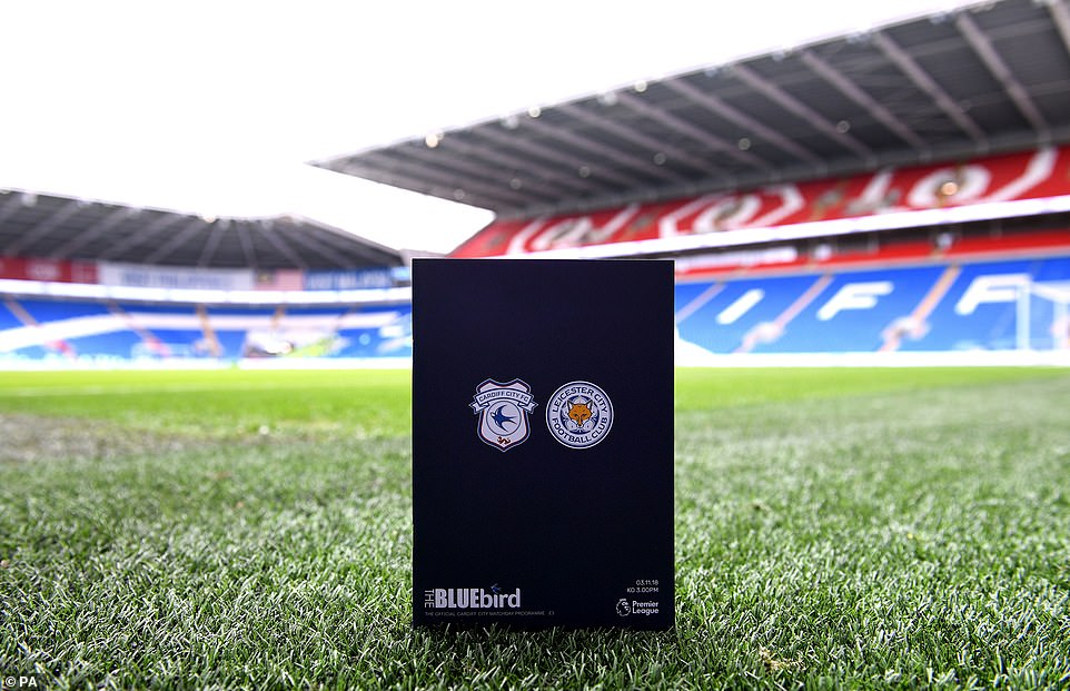 A black game program is on the pitch before the Premier League game on Saturday between Cardiff and Leicester
