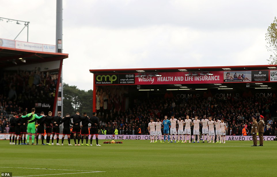 Bournemouth and Man United hold a minute's silence for Armistice Day and the victims of the Leicester helicopter crash