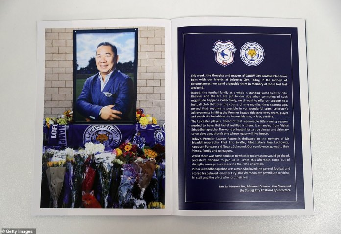 Members of the Cardiff board commemorate Srivaddhanaprabha's life with a special tribute inside the matchday program
