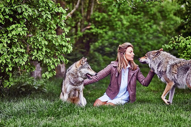 Secret Shelter: Damian's wife Victoria is pictured above with two of the wolves