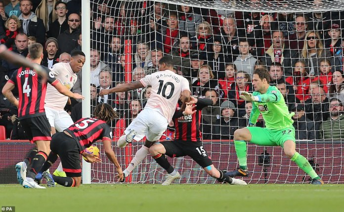 The Manchester United No. 10 bundled the ball despite the heroic efforts of the defenders of Bournemouth to stop the ball