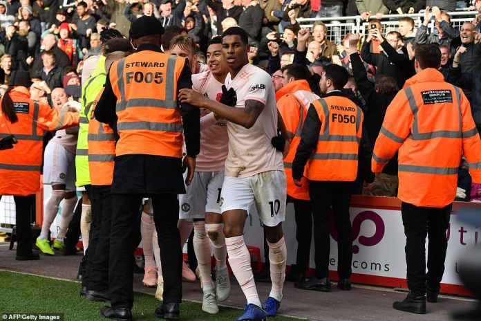 Rashford was booked up after his last-minute winner of Manchester United's away record