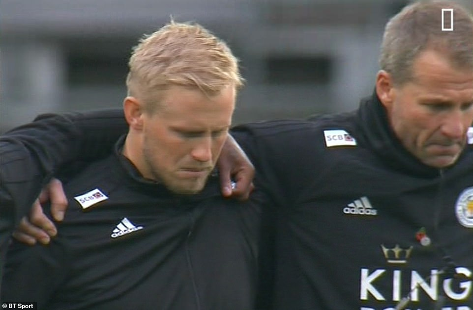 Kasper Schmeichel struggled to hold back tears when Leicester players were in line for a minute's silence