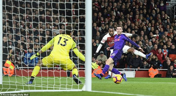 Alexandre Lacazette (center, background) just barely hits when Arsenal are close to deadlock in the first half