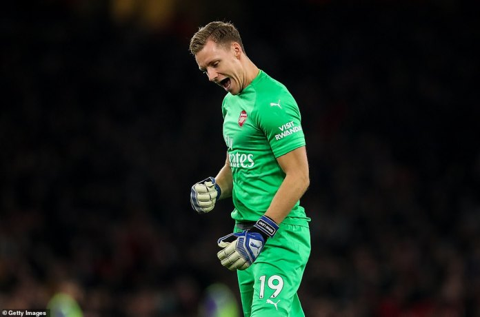 Bernd Leno celebrates after Lacazette has played for Arsenal just ten minutes from time in the Emirates