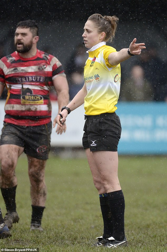 Sara Cox is expected to be the first woman to play a top English game on Sunday. Previously she had a Greene King IPA RFU championship game between Cornish Pirates and Doncaster Knights on March 4, 2018 at Mennaye Field, Penzance, Cornwall (image)