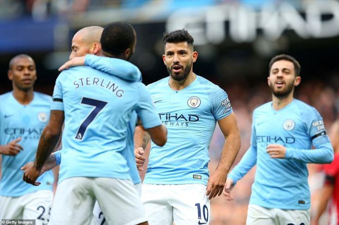 Aguero celebrates with his City teammates as Pep Guardiola's team dominate against Southampton