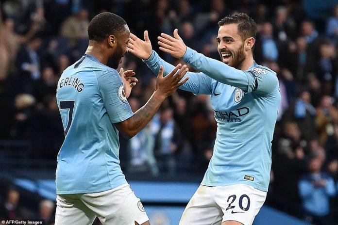 Sterling congratulates teammate Bernardo Silva, who beat City Etihad 4-1 in Southampton