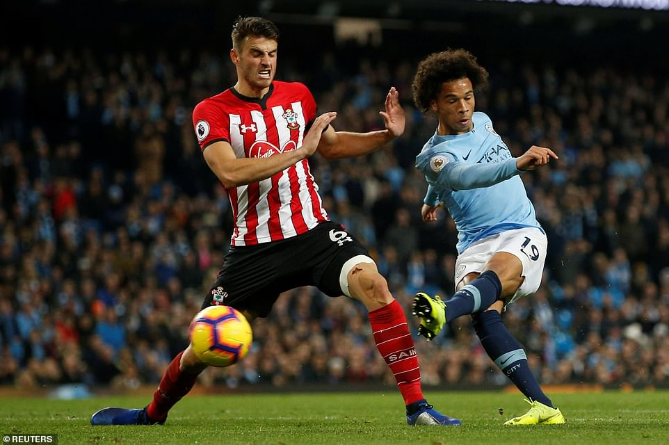 Leroy Sane, who hit the post before, shows great caution to score City's sixth goal in the closing stages of the match