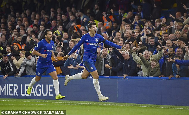 Alvaro Morata scored as Chelsea reached second place in the table with Crystal Palace