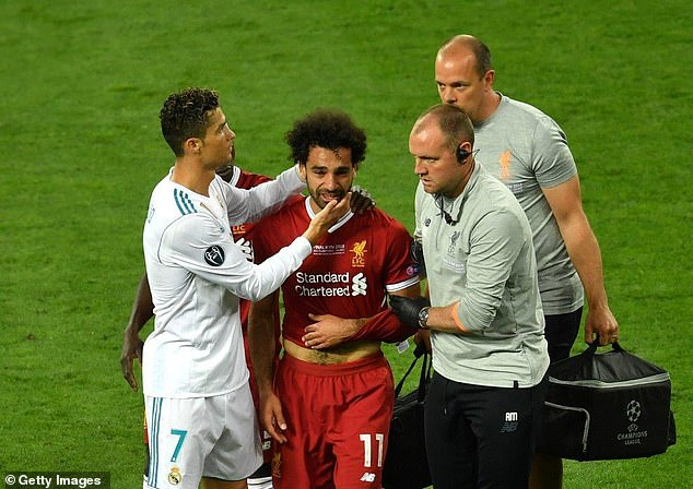 Ronaldo consoled Salah as he went off the pitch injured in the Champions League final in May