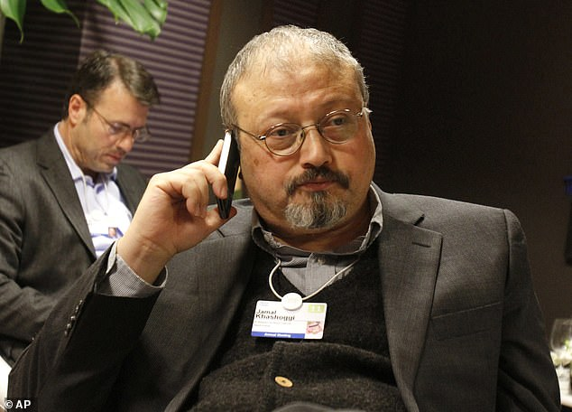 Saudi investigators sent to help Turkey look into the Jamal Khashoggi (pictured) consulate murder were removing evidence instead, it has been claimed