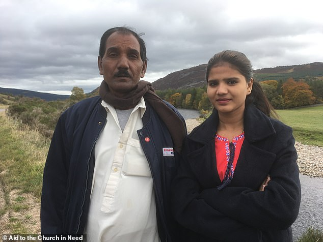 Plea: Ms Bibi's husband Ashiq Masih, pictured with their daughter Eisham, has asked Donald Trump and Theresa May to grant the family asylum