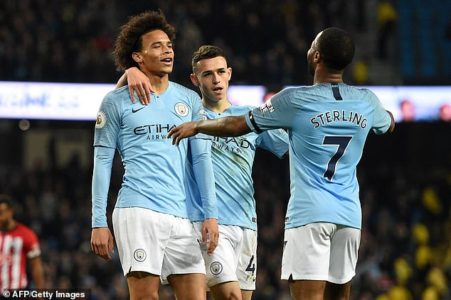 Leroy Sane (left) celebrates after the sixth goal from Manchester City against Southampton