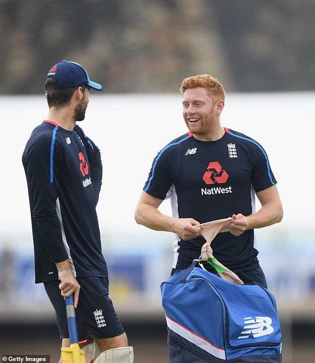 Foakes replaces Jonny Bairstow (right) behind the stumps after his ankle injury