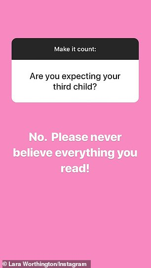 Nope!denying the baby talk, replying to a fan who asked if she was pregnant: 'No. Please never believe everything you read'