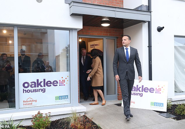 Irish PM Leo Varadkar (pictured on a visit in Dublin yesterday) told Mrs May he would consider a 'review mechanism', but it could not be ended by a 'unilateral decision'