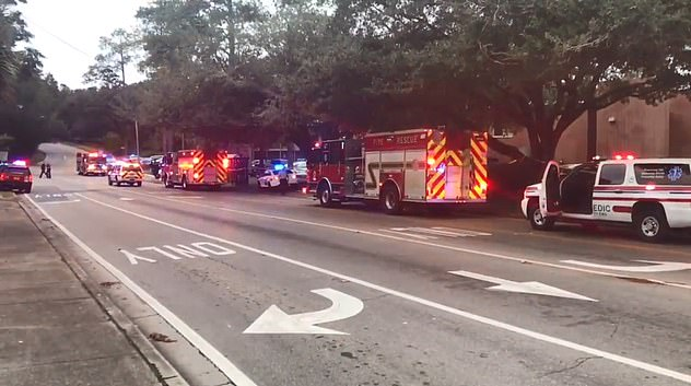 City spokeswoman Alison Faris told news outlets that the suspect fatally shot himself. Emergency services are seen at the scene of the shooting