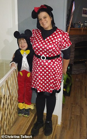 Parker (left) and his mother Christina (right) were on Halloween as Mickey and Minnie Mouse