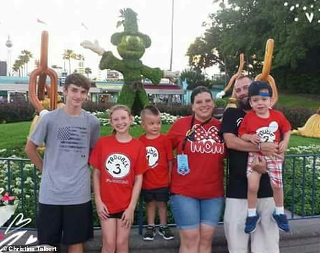 The Make-a-Wish Foundation sent the Talberts, including Jeremy's children from a previous marriage, Carson and Ryan (left) to Disney World, where Parker was thrilled to see Mickey