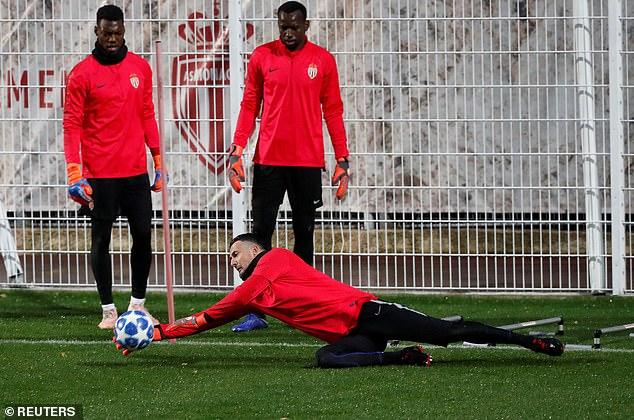 Monaco goalkeeper Danijel Subasic saves during the training