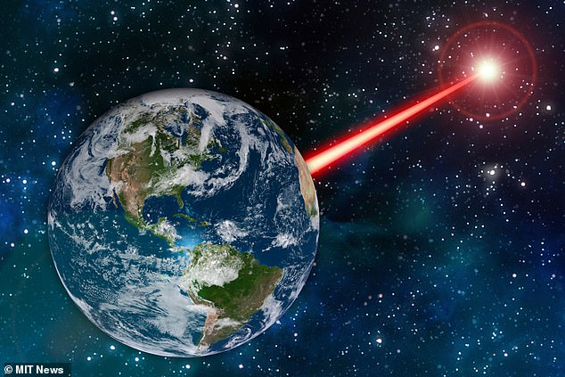 Researchers have found that it could be possible to use laser technology as a beacon to attract the attention of alien astronomers, much like a planet-scale porch light. The impression of the artist is shown