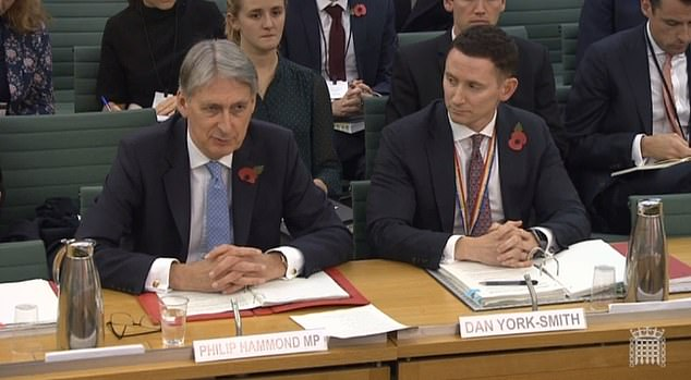 Philip Hammond (pictured in front of the Treasury Select Committee today) warned that he would be out of the EU without a deal