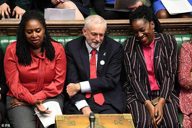 Jeremy Corbyn flanked by Shadow Minister for Women and Equalities Dawn Butler (left) and Shadow Secretary of State for International Development Kate Osamor