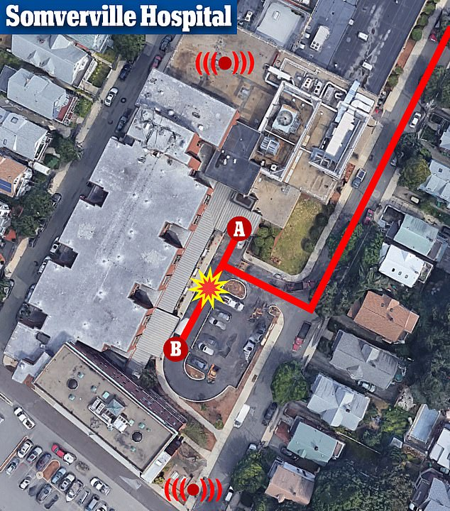 Dispatchers for 911 calls ask callers where their emergencies are and use cell towers to try to get to locations. Levis tried the one entrance (A) but it was locked. She almost made it to the second (B), but collapsed on a bench (star). Pings to her cell phone (red) Proposed she was much further, at one of two corners of the hospital's grounds