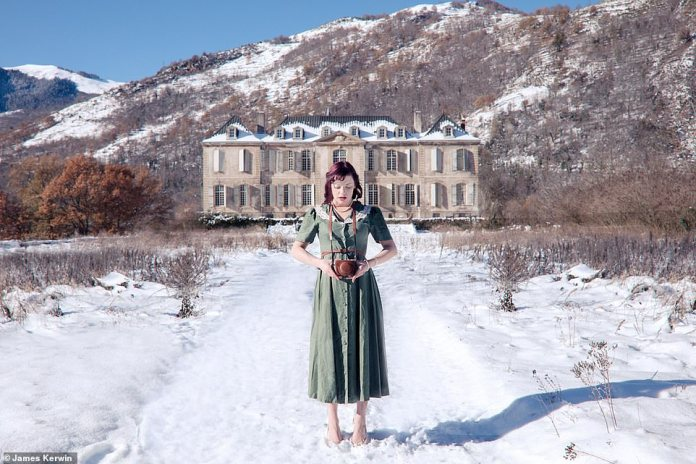 Jade is posing in the snow outside the Chateau de Gudanes in the south of France. It was abandoned, but has now been refurbished by an Australian family
