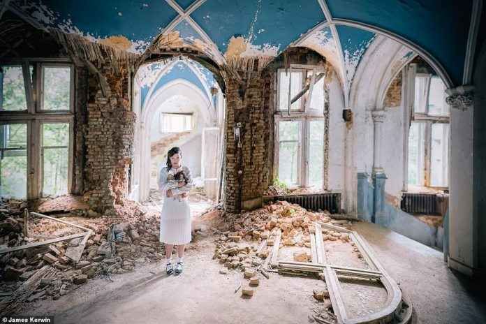 """A haunting picture in the Belgian Chateau Miranda, which used to be a former school. The topic of this shoot was """"lost child"""""""