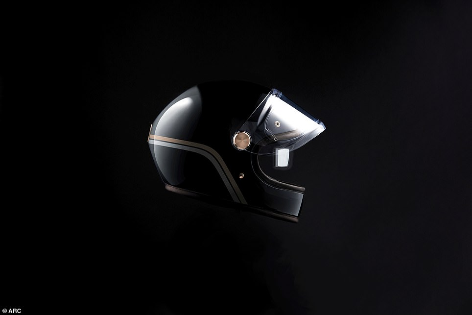 A live rear-view camera is framed in calf leather helmet
