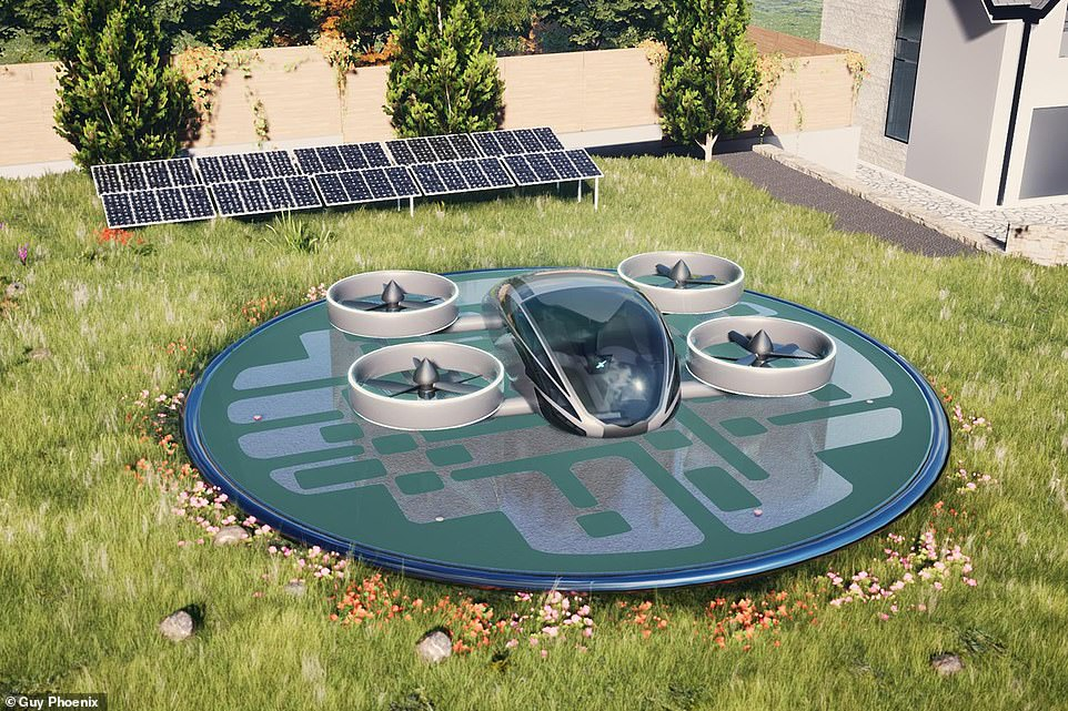 To recharge the pad uses stored and solar energy to recharge and includes an 'etched data store code' which is scanned from the air and allows the car to land autonomously.