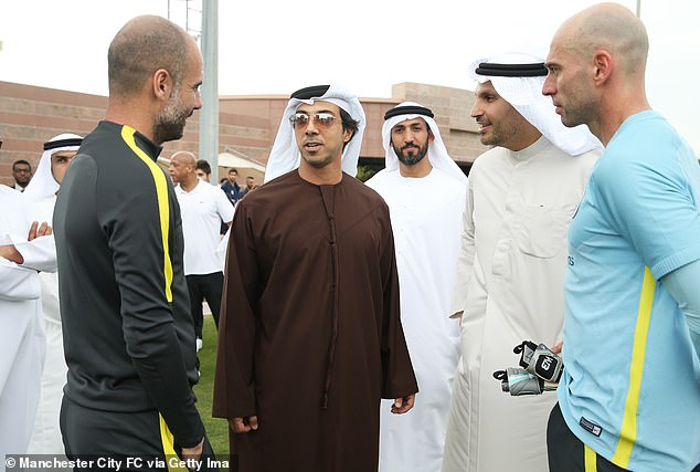 Sheik Mansour (center) is also accused of selecting the tab for over-sponsored deals